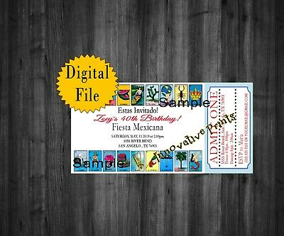 Loteria Birthday Invitations, Mexican Fiesta, 50th, 60th, 80th, ](60 Birthday Invitations)