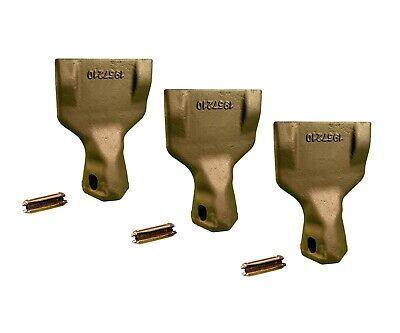 3 Backhoe Bucket Teeth- 195-7210 Wide Tip W Pins Fits Cat Drs200 Adapters