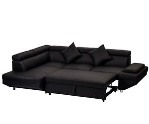 Contemporary Sectional Modern Sofa Bed   Black With Functional Armrest /  Back L