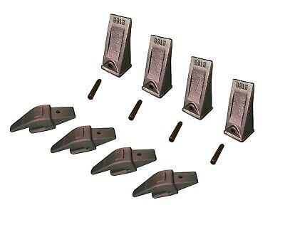 4 Ex Backhoe Skid Bucket Weld-on Shanksteeth Pins 34 Lip- 552x156 X156