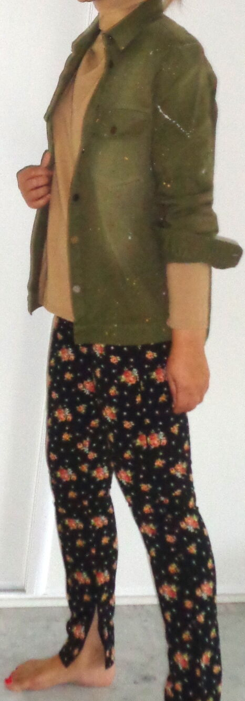 Trendy sur chemise vert kaki motif taches de peinture coton épais zara t m