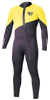 New Action Plus Men's 3mm Farmer John Two Piece Wetsuit Sz Large Neon Yellow