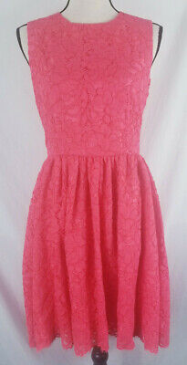 Kate Spade New York Womens Pink Floral Lace Lined Cocktail Dress EUC Size 10 Med