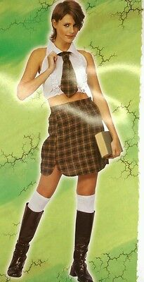 NAUGHTY SEXY ADULT/LADIES SCHOOL GIRL FANCY DRESS COSTUME/OUTFIT SIZE 12 - 14