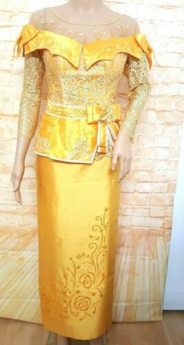 Cambodia Khmer Traditional Out fit Women Size L Gold Formal Lace Korean Silk Set
