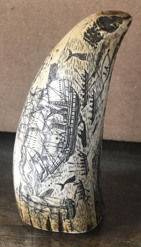 """Antique Faux Scrimshaw Carving Ship Battle/Fish Etching 4"""""""