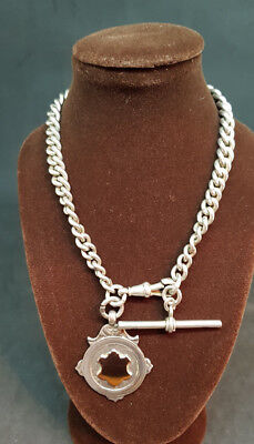 ANTIQUE 1900'S SOLID SILVER POCKET WATCH CHAIN & FOB 51 G.
