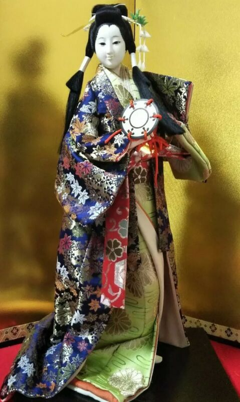 "Antique Japanese Geisha doll in Kimono on wooden base 17"" 43cm Vintage"
