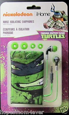 New Teenage Mutant Ninja Turtles Tmnt Earbuds W  Carry Pouch Kiddesign Free Ship