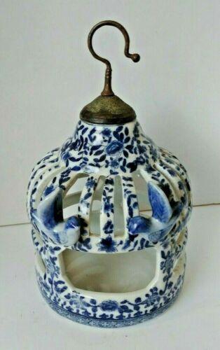 "13"" Vintage JUWC United Wilson Blue & White Porcelain Bird Cage with Hook"