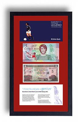 2 FRAMED GEORGE BEST LIMITED EDITION FIVER FIVE £5 POUND NOTE PRESENTATION