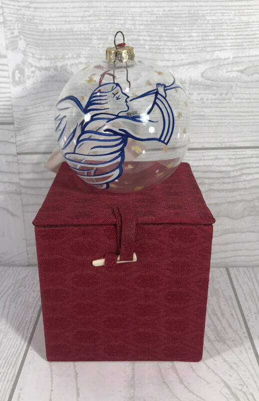 Vintage Chase Glass Reverse Painted Ball Christmas Ornament, Angel on Trumpet