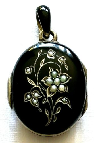 ANTIQUE VICTORIAN SEED PEARL & BLACK ENAMEL AUSTRO HUNGARIAN MOURNING LOCKET