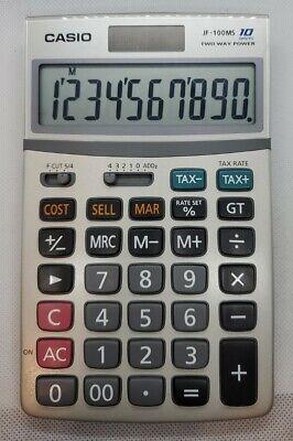 Casio Jf-100ms Desk Calculator 10 Digit Two Way Power