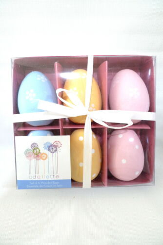 6 Boxed Odellette Painted Pastel WOODEN EASTER EGGS New Holiday Home Decor