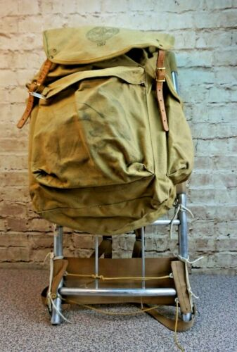 Vintage Boy Scouts Of America Canvas Back Pack 1307 with Aluminum Frame