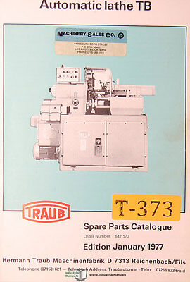 Traub Atuomatic Lathe Tb Parts And Drawings Manual 1977