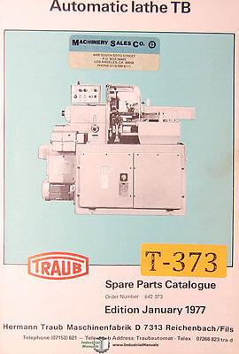 Traub Atuomatic Lathe Tb Parts And Drawings Manual 1977