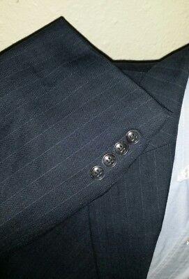 48R Herren Marine Gestreift 2 Teiliger Anzug Wolljacke Hose 42 X 28 Sport Mantel ()