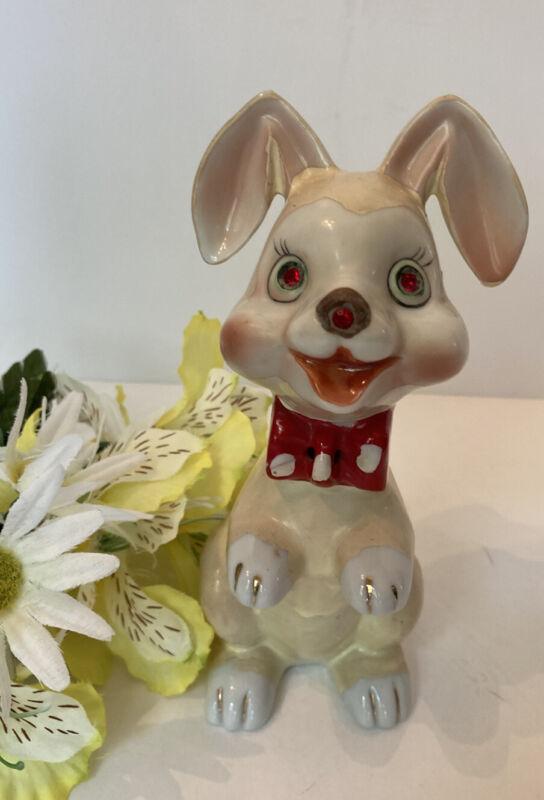 Vintage Dog Figurine Red Polka Dot Tie Rhinestone Eyes Lipper & Mann, Arnart?