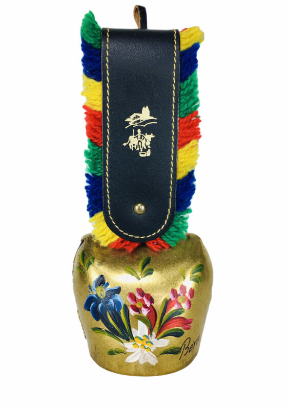 Vintage BERN Swiss Souvenir Hand Painted Brass Cow Bell Fringed Leather Strap