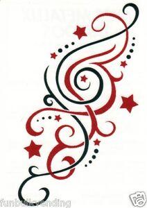 red black star swirl design metallic temporary tattoo sexy sparkle made usa. Black Bedroom Furniture Sets. Home Design Ideas