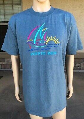Vintage 90s Puerto Rico Tourist T Shirt Murina USA Made Size XL Sailboat Sun