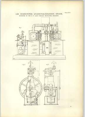 1893 3000 Hp Quadruple Expansion Engine Ep Aliss Milwaukee Drawings