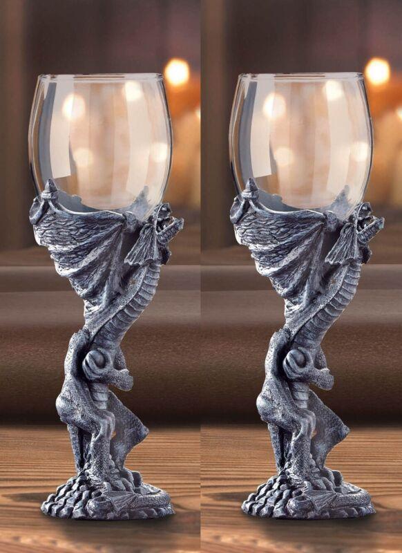 2 MEDIEVAL DRAGON BAR GOBLET DRINK WINE GLASS CEREMONY KEEPSAKE WEDDING STATUE