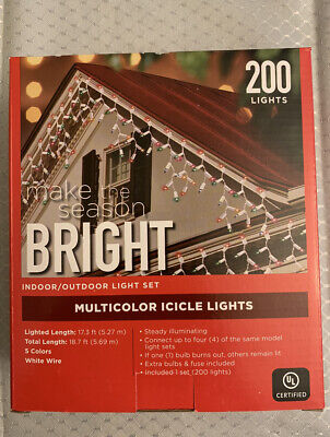 Christmas lights 200 Multicolor Icicle Lights indoor/outdoor 17-18 ft.