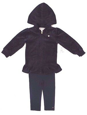 Baby Girls JUICY COUTURE Blue Velour 2pc Outfit Hoodie Leggings Sizes 3-24 M](Velour Leggings Girls)