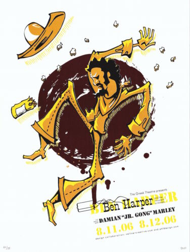 MINT & SIGNED Ben Harper 2006 Greek Theater Los Angeles Poster 40/75