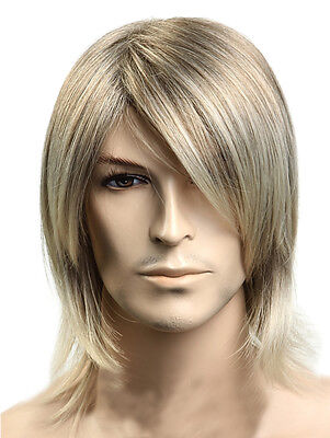 US Fashion Men's Short Wig Light Blonde Male Hair Party Cool Straight Wigs