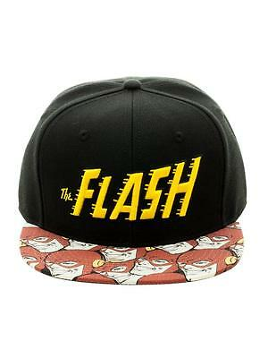 OFFICIAL DC COMICS THE FLASH RETRO SYMBOL SNAPBACK CAP WITH PRINTED VISOR (NEW) - Cheap Visor Hats
