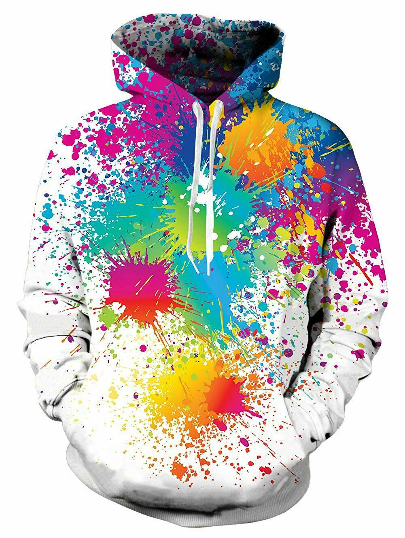 PIZOFF Unisex Hip Hop Sweatshirts Druck Kapuzenpullover Fun Spaß Bunt 3D Print