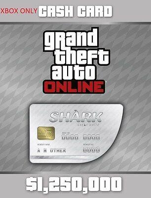 Grand Theft Auto V Online   White Shark Cash Card  1 250 000  Xbox One  Dlc  New