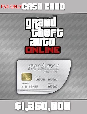 Grand Theft Auto V Online White Shark Cash Card  1 250 000  Playstation 4 Dlc