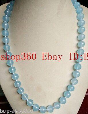 New Natural 10mm Aquamarine Gemstone Round Bead Necklace 18