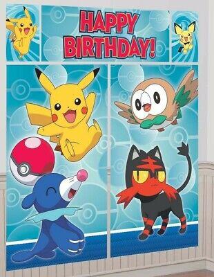 Birthday Wall Decorations (Pokemon Core Scene Setter Happy Birthday Wall Decoration Party Supplies)
