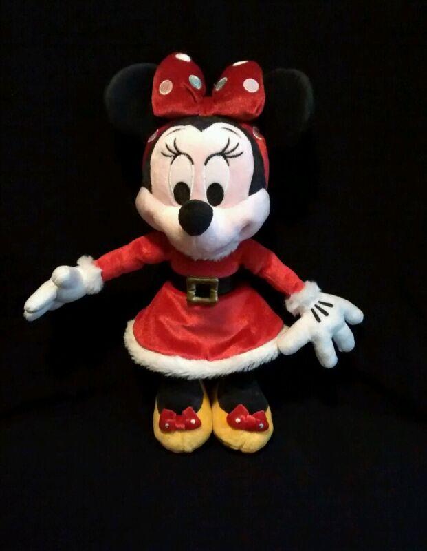"Disney Minnie Mouse Original Authentic RED Christmas 11"" Plush Doll RARE EUC"