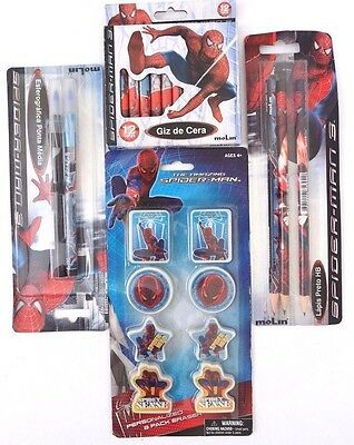 Marvel Amazing Spider-Man 2 Pens 3 Pencils 12 Crayons 8 Erasers 25 Piece Set NWT