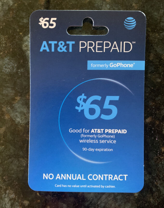 AT&T Prepaid $65 Refill Top-Up Prepaid Card / DIRECT RECHARGE