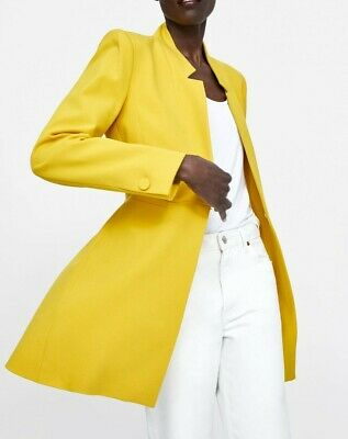 ZARA NEW SS19 YELLOW INVERTED LAPEL COLLAR FROCK COAT REF 2143/293 SIZE XL