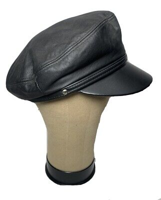HH Henschel Size L Brando Black Leather Biker Hat