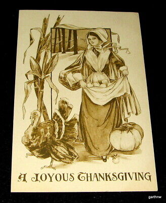 THANKSGIVING 1910 GIBSON POSTCARD PRETTY PILGRIM GIRL WITH TURKEY HARVEST SCENE (Thanksgiving Scenes)