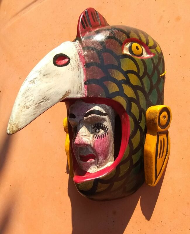 Vintage Mexican Mask Carved & Painted Wood Parrot Bird Man Guerrero Mexico