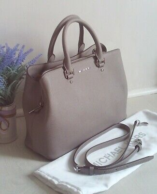 Michael Kors Savannah Leather Satchel Shoulder Bag Pearl Grey