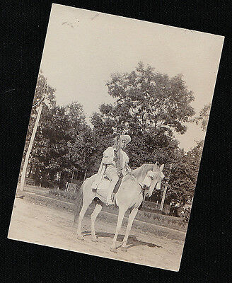 Old Vintage Antique Photograph Woman in Cool Outfit Sitting on Horse With Bows](Cool Anime Outfits)