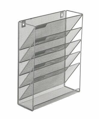 6 Tier Wall Mount File Holder Organizer Hanging Magazine Rack,Silver