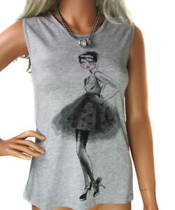 NEW LADIES EX MONSOON WHITE GIRL PRINT TOP IN WHITE & GREY SIZE 8 - 14